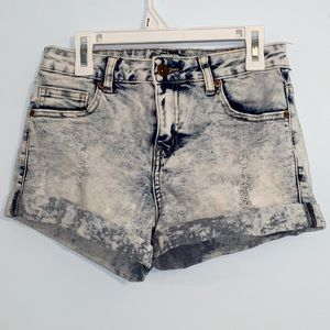washed out jean shorts